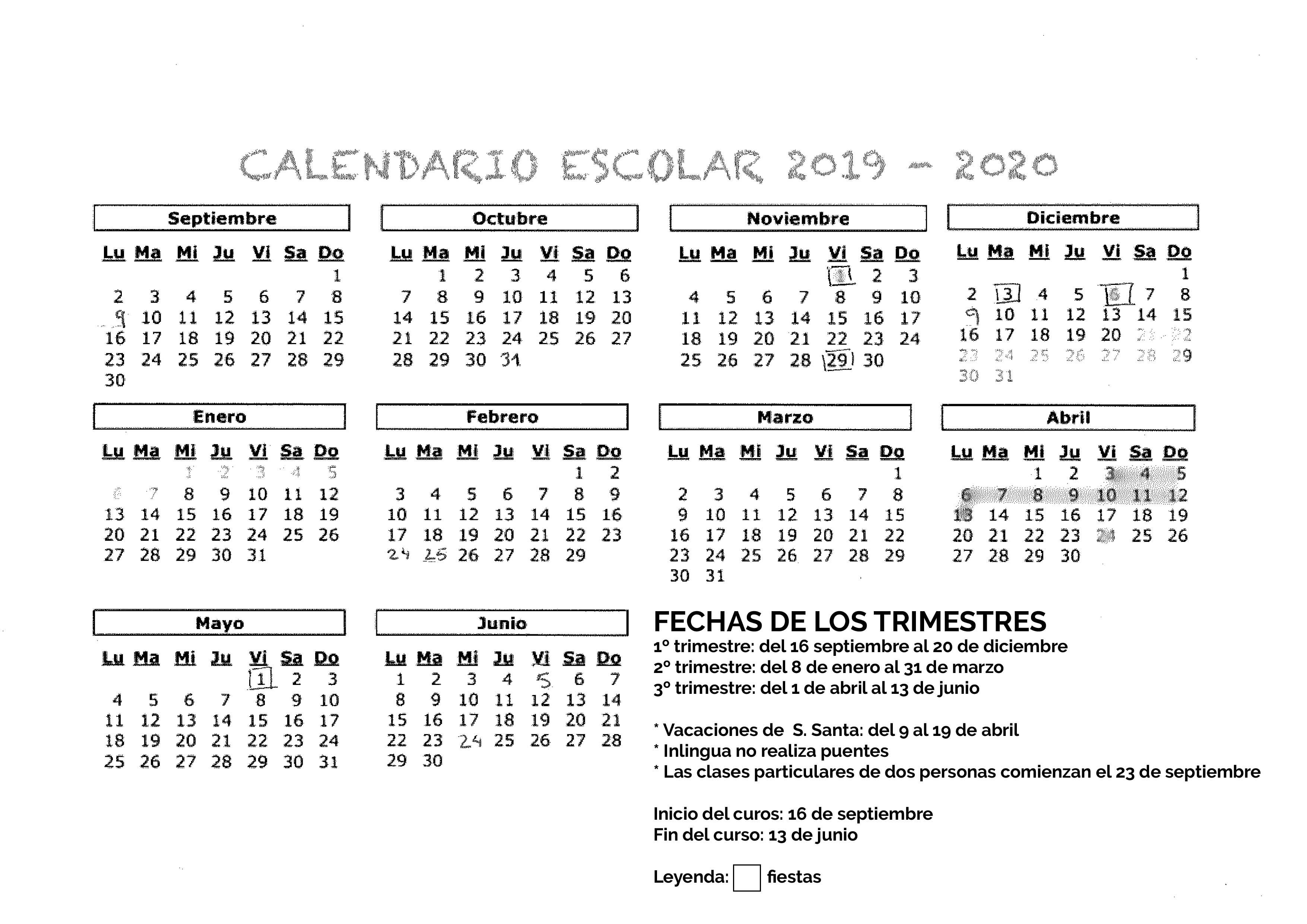 calendario escolar inlingua